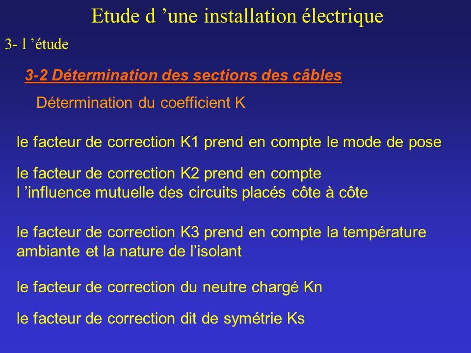 Etude d une installation électrique 3- l étude 3-2 Détermination des sections des câbles le facteur de correction K1 prend en compte le mode de pose l