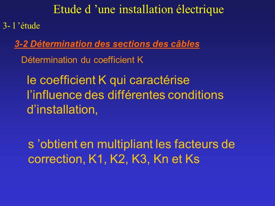 le coefficient K qui caractérise linfluence des différentes conditions dinstallation, s obtient en multipliant les facteurs de correction, K1, K2, K3,