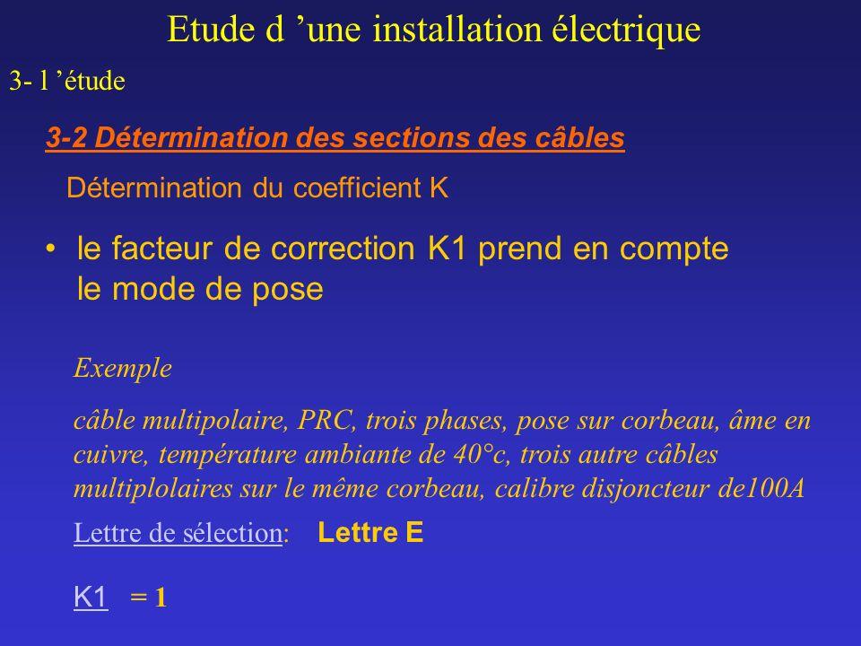 Exemple câble multipolaire, PRC, trois phases, pose sur corbeau, âme en cuivre, température ambiante de 40°c, trois autre câbles multiplolaires sur le