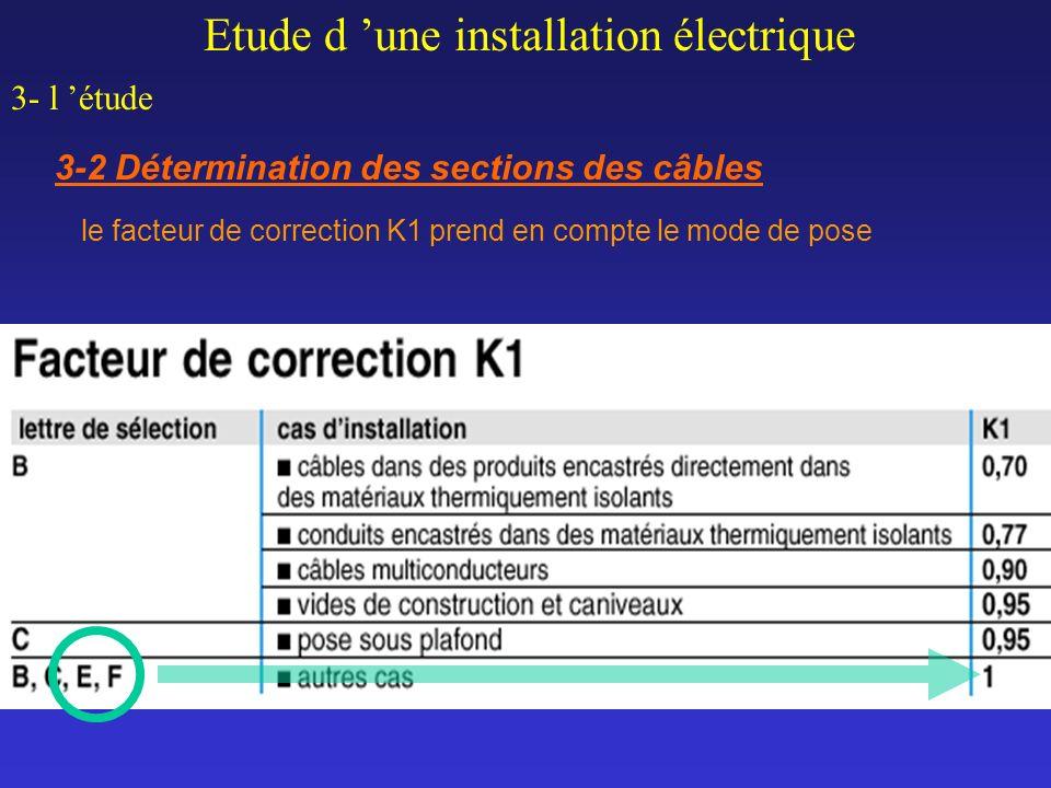 Etude d une installation électrique 3- l étude 3-2 Détermination des sections des câbles le facteur de correction K1 prend en compte le mode de pose