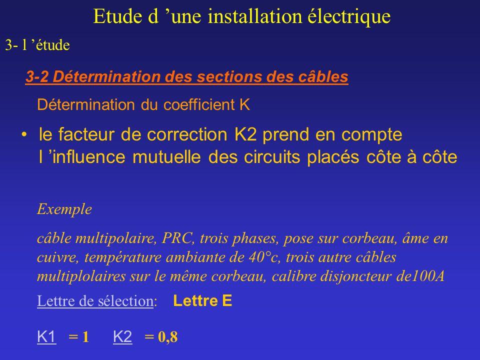 le facteur de correction K2 prend en compte l influence mutuelle des circuits placés côte à côte Exemple câble multipolaire, PRC, trois phases, pose s