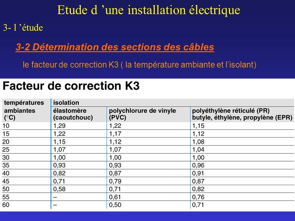 Etude d une installation électrique 3- l étude 3-2 Détermination des sections des câbles le facteur de correction K3 ( la température ambiante et liso