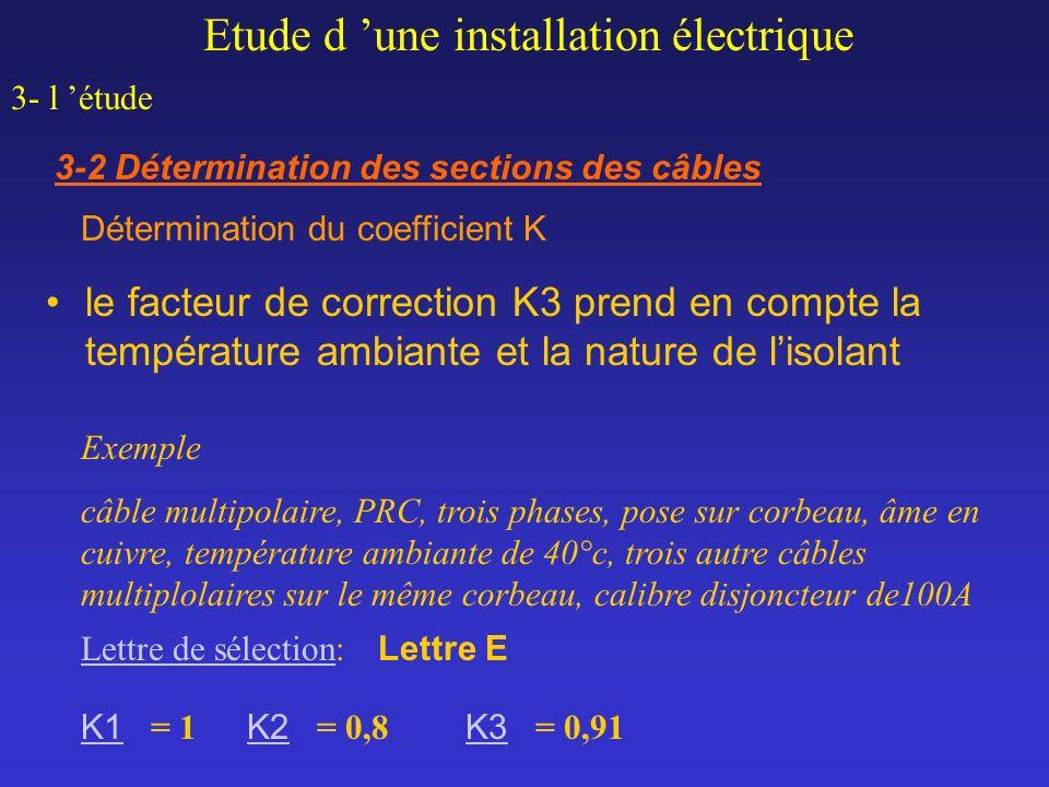 le facteur de correction K3 prend en compte la température ambiante et la nature de lisolant Exemple câble multipolaire, PRC, trois phases, pose sur c