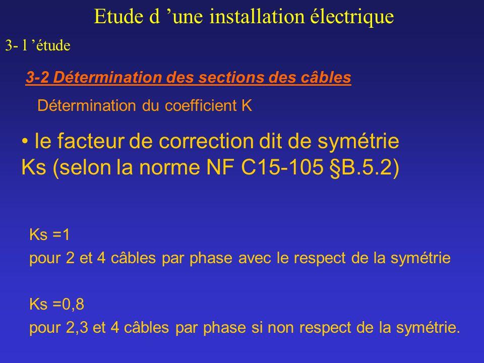 Ks =1 pour 2 et 4 câbles par phase avec le respect de la symétrie Ks =0,8 pour 2,3 et 4 câbles par phase si non respect de la symétrie. le facteur de