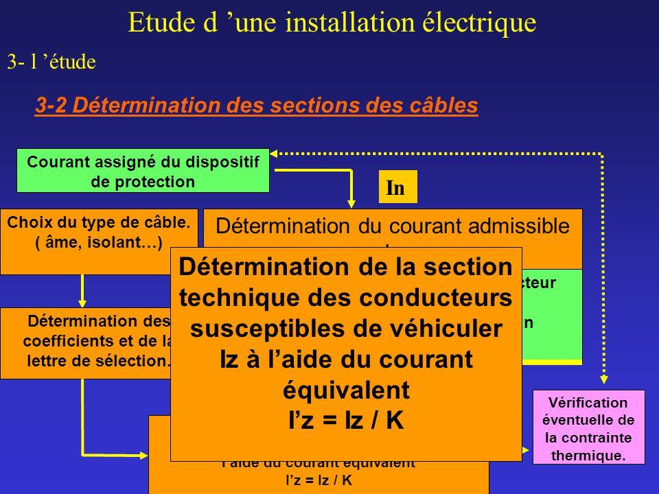 Etude d une installation électrique 3- l étude 3-2 Détermination des sections des câbles Détermination de la section technique des conducteurs suscept