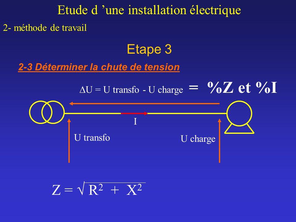 Etape 3 Etude d une installation électrique 2- méthode de travail 2-3 Déterminer la chute de tension U transfo U charge U = U transfo - U charge = %Z