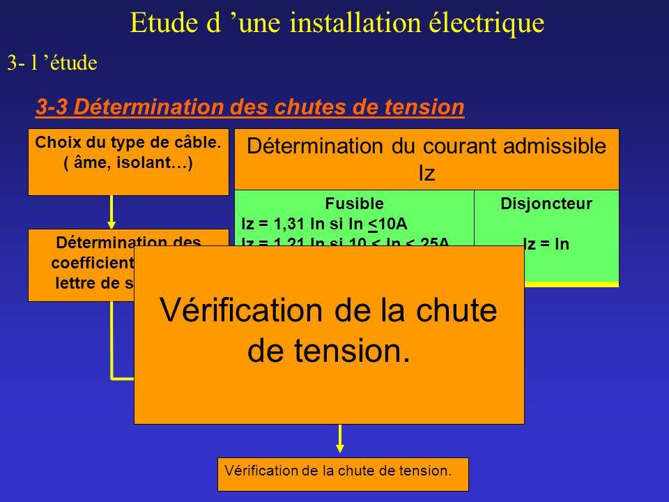 Etude d une installation électrique 3- l étude 3-3 Détermination des chutes de tension Détermination de la section technique des conducteurs susceptib