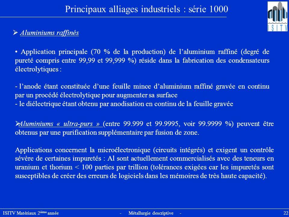 ISITV Matériaux 2 ième année - Métallurgie descriptive - 22 Principaux alliages industriels : série 1000 Aluminiums raffinés Application principale (7