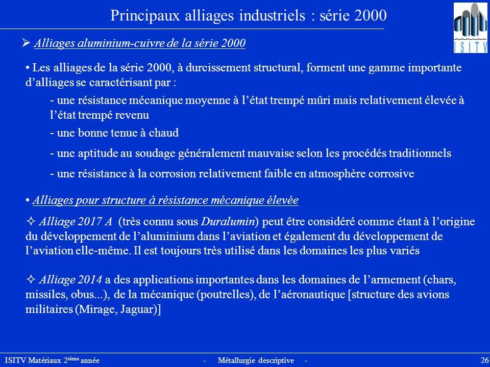 ISITV Matériaux 2 ième année - Métallurgie descriptive - 26 Principaux alliages industriels : série 2000 Alliages aluminium-cuivre de la série 2000 Le