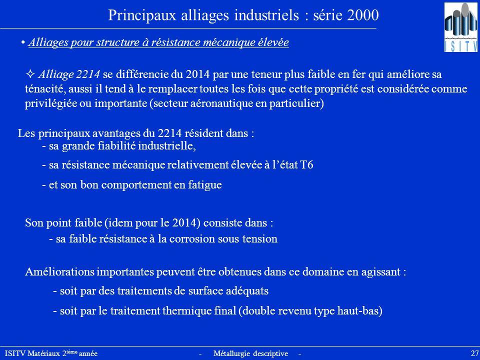 ISITV Matériaux 2 ième année - Métallurgie descriptive - 27 Principaux alliages industriels : série 2000 Alliages pour structure à résistance mécaniqu