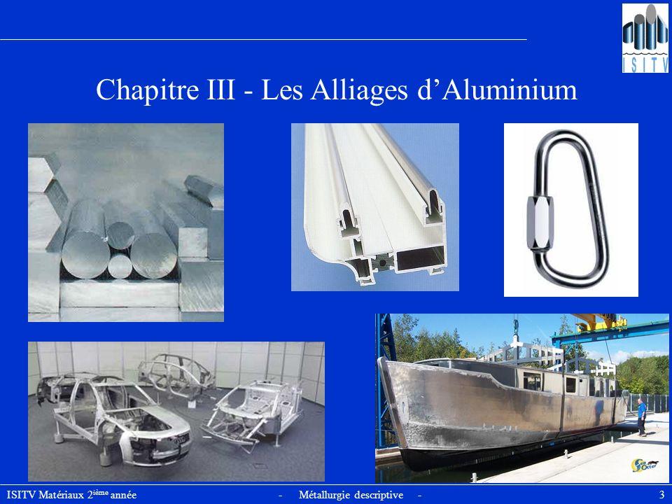ISITV Matériaux 2 ième année - Métallurgie descriptive - 34 Principaux alliages industriels : série 3000 Alliages aluminium-manganèse de la série 3000 Alliages Al-Mn-Mg Alliage 3004 présente des caractéristiques mécaniques sensiblement > à celles du 3003 mais son aptitude à la déformation plastique est légèrement Principalement fabriqué sous forme de tôles et bandes, est très utilisé dans le domaine : - des panneautages - de lemballage - du boîtage (lalliage par excellence pour la réalisation des corps de boîtes pour boissons gazeuses) Alliage 3105 : propriétés sont intermédiaires entre celles des alliages 3003 et 3005, est utilisé dans les domaines du boîtage et du capsulage.