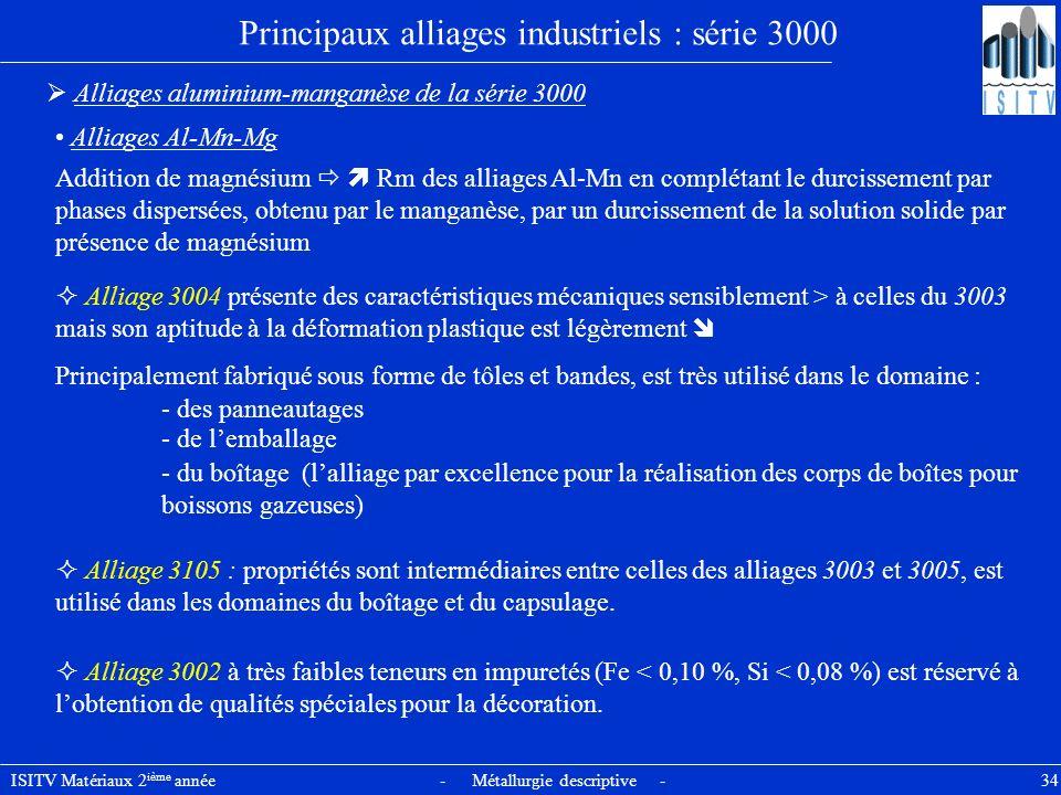 ISITV Matériaux 2 ième année - Métallurgie descriptive - 34 Principaux alliages industriels : série 3000 Alliages aluminium-manganèse de la série 3000