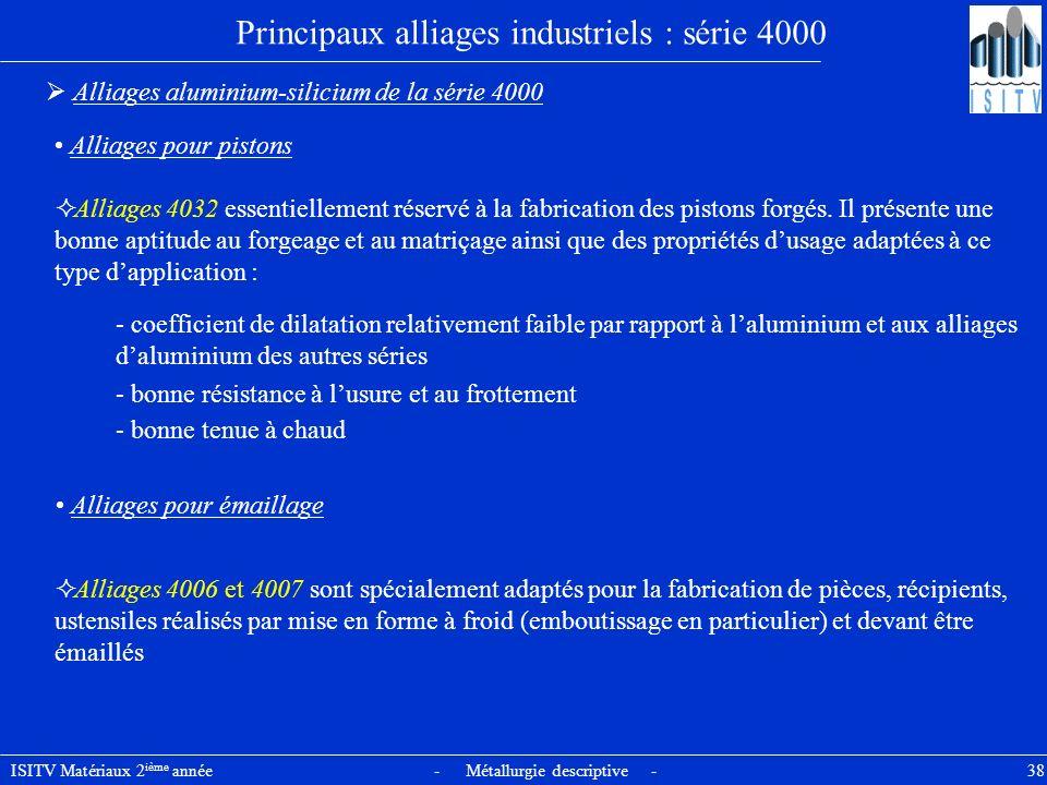 ISITV Matériaux 2 ième année - Métallurgie descriptive - 38 Principaux alliages industriels : série 4000 Alliages aluminium-silicium de la série 4000