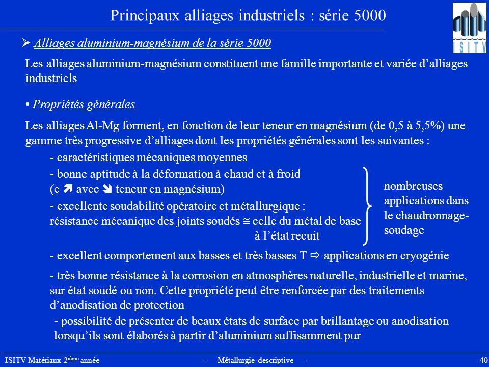 ISITV Matériaux 2 ième année - Métallurgie descriptive - 40 Principaux alliages industriels : série 5000 Alliages aluminium-magnésium de la série 5000