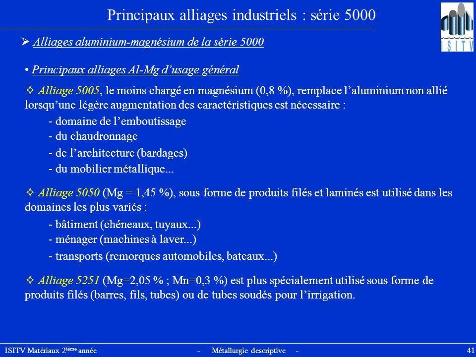 ISITV Matériaux 2 ième année - Métallurgie descriptive - 41 Principaux alliages industriels : série 5000 Alliages aluminium-magnésium de la série 5000