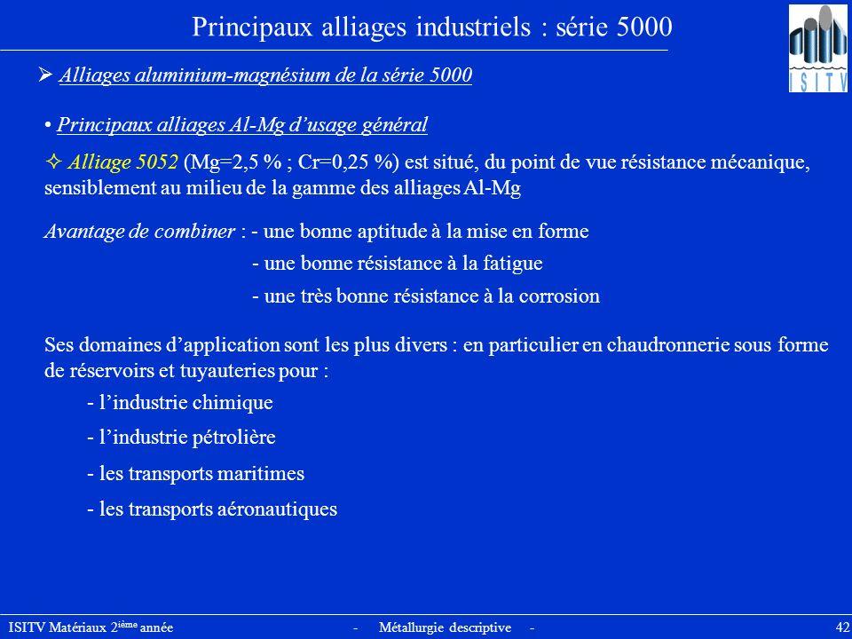 ISITV Matériaux 2 ième année - Métallurgie descriptive - 42 Principaux alliages industriels : série 5000 Alliages aluminium-magnésium de la série 5000