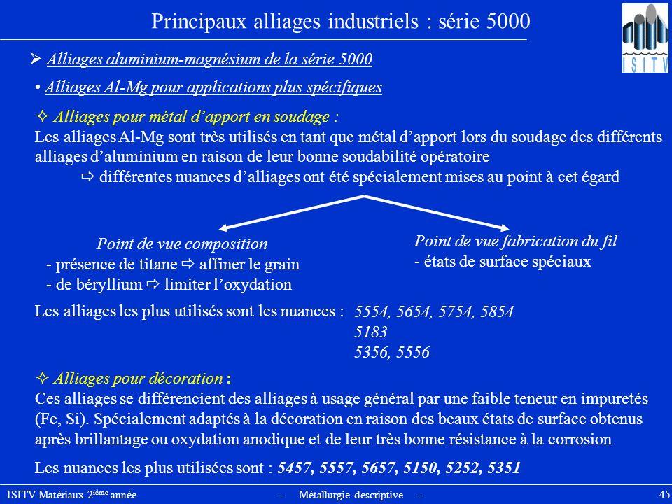 ISITV Matériaux 2 ième année - Métallurgie descriptive - 45 Principaux alliages industriels : série 5000 Alliages aluminium-magnésium de la série 5000