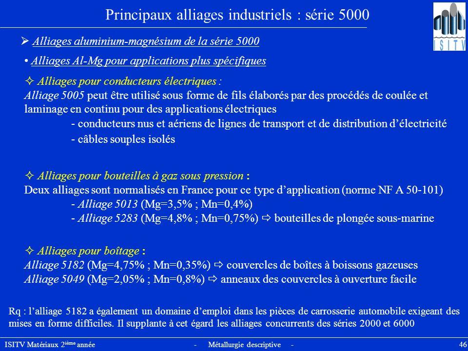 ISITV Matériaux 2 ième année - Métallurgie descriptive - 46 Principaux alliages industriels : série 5000 Alliages aluminium-magnésium de la série 5000