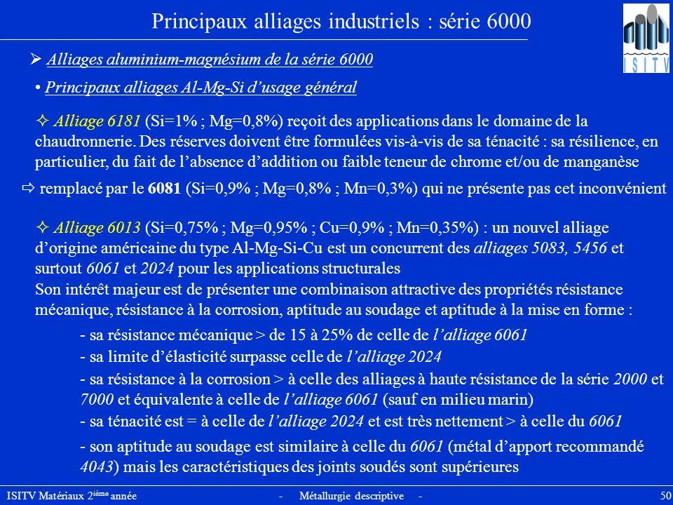 ISITV Matériaux 2 ième année - Métallurgie descriptive - 50 Principaux alliages industriels : série 6000 Alliages aluminium-magnésium de la série 6000