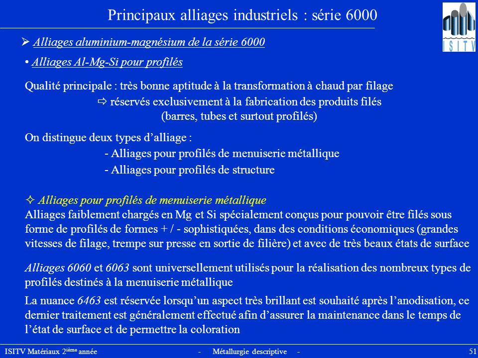 ISITV Matériaux 2 ième année - Métallurgie descriptive - 51 Principaux alliages industriels : série 6000 Alliages aluminium-magnésium de la série 6000