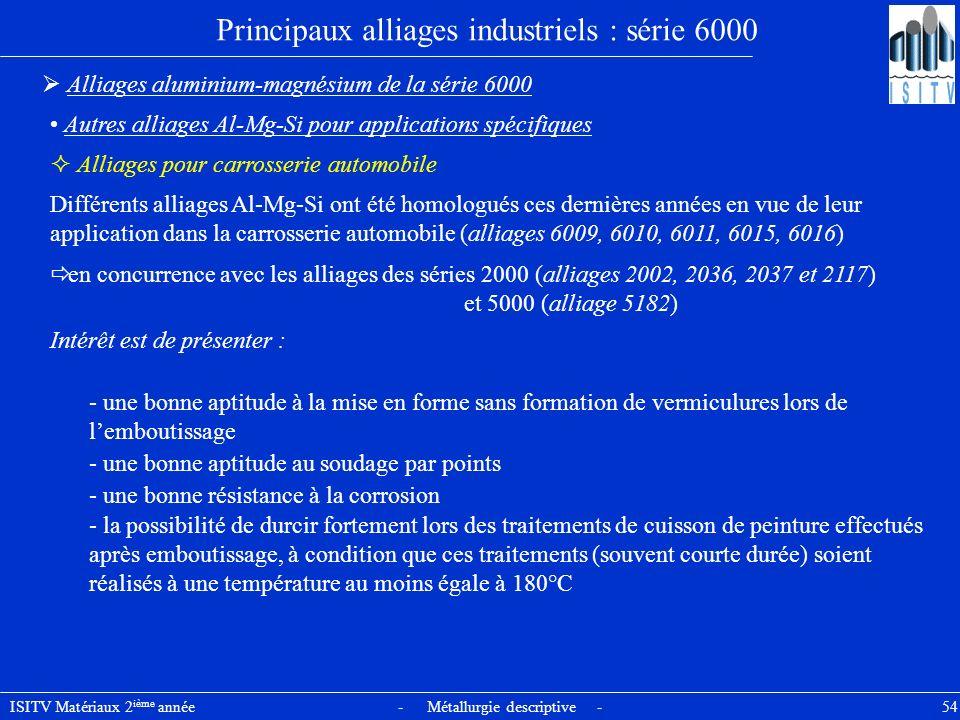 ISITV Matériaux 2 ième année - Métallurgie descriptive - 54 Principaux alliages industriels : série 6000 Alliages aluminium-magnésium de la série 6000