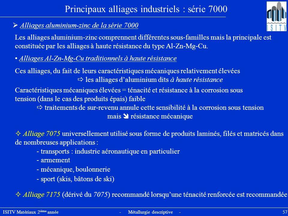 ISITV Matériaux 2 ième année - Métallurgie descriptive - 57 Principaux alliages industriels : série 7000 Alliages aluminium-zinc de la série 7000 Les