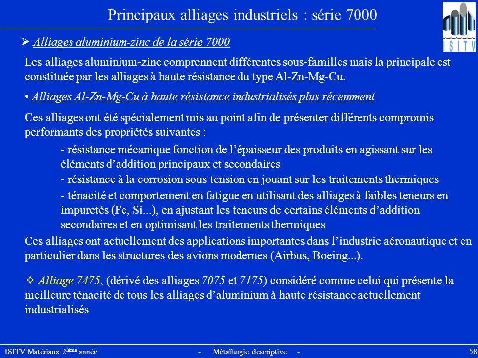 ISITV Matériaux 2 ième année - Métallurgie descriptive - 58 Principaux alliages industriels : série 7000 Alliages aluminium-zinc de la série 7000 Les
