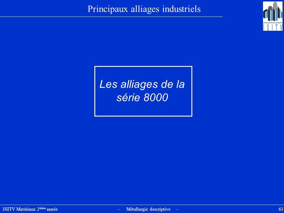 ISITV Matériaux 2 ième année - Métallurgie descriptive - 61 Principaux alliages industriels Les alliages de la série 8000