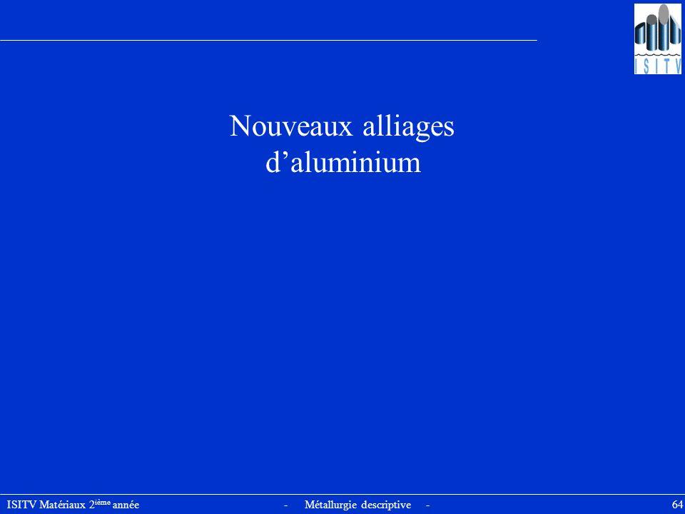 ISITV Matériaux 2 ième année - Métallurgie descriptive - 64 Nouveaux alliages daluminium