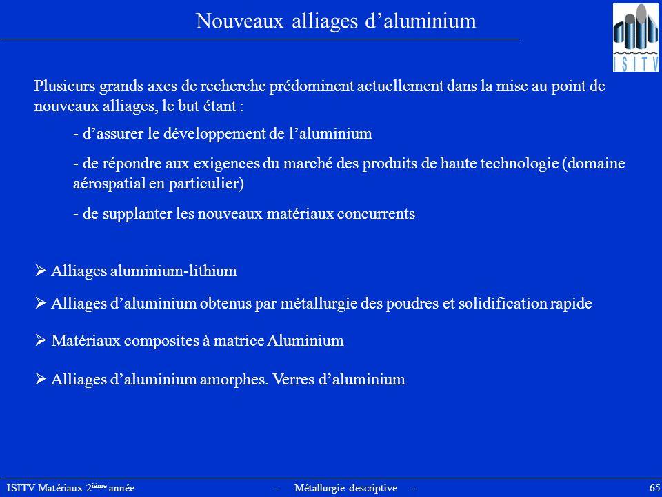 ISITV Matériaux 2 ième année - Métallurgie descriptive - 65 Nouveaux alliages daluminium Plusieurs grands axes de recherche prédominent actuellement d