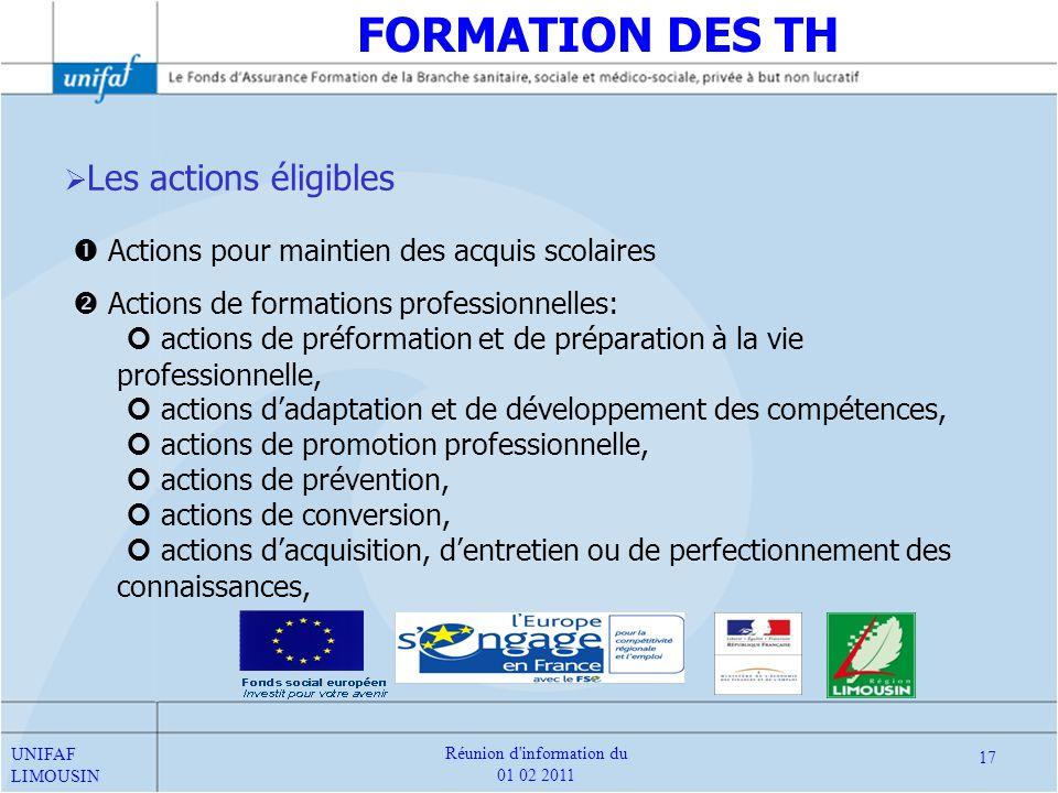FORMATION DES TH Les actions éligibles Actions pour maintien des acquis scolaires Actions de formations professionnelles: actions de préformation et d