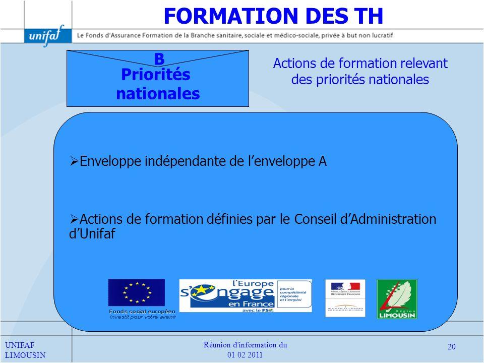 Priorités nationales B Enveloppe indépendante de lenveloppe A Actions de formation définies par le Conseil dAdministration dUnifaf Actions de formatio