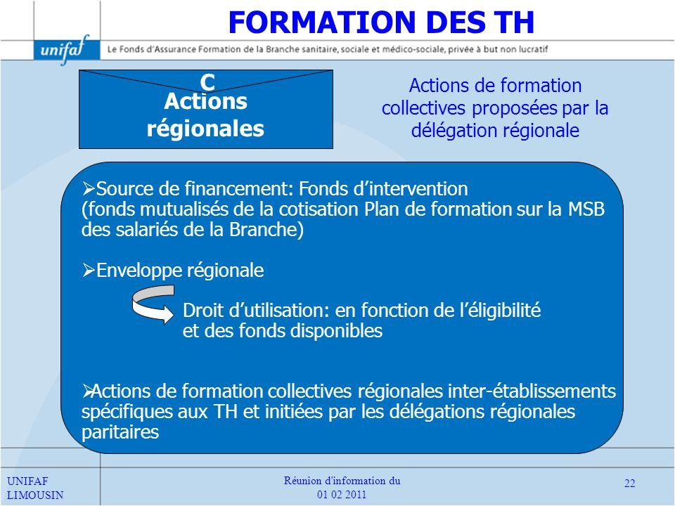 Actions régionales C Source de financement: Fonds dintervention (fonds mutualisés de la cotisation Plan de formation sur la MSB des salariés de la Bra