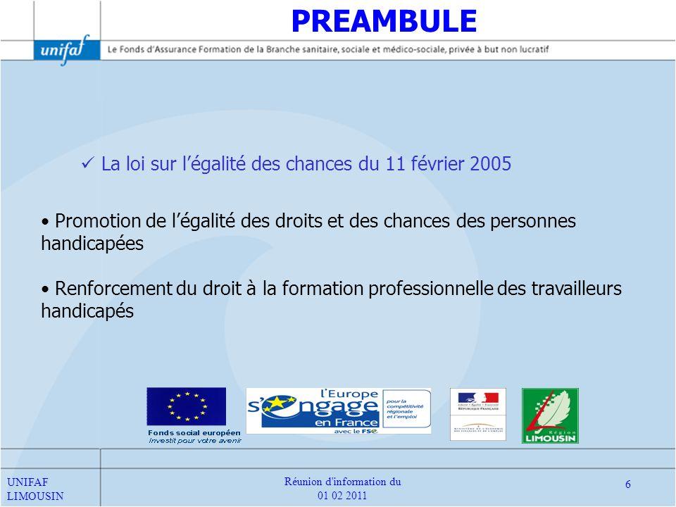 La loi sur légalité des chances du 11 février 2005 Promotion de légalité des droits et des chances des personnes handicapées Renforcement du droit à l