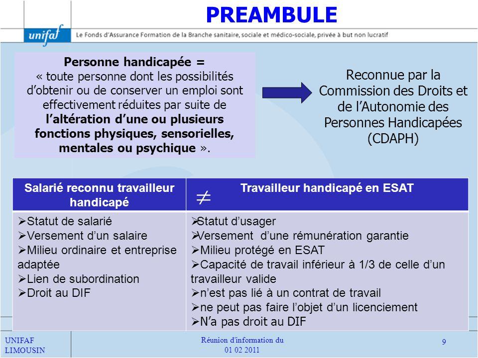 Textes encadrant le financement de la formation des Travailleurs Handicapés (TH) PREAMBULE UNIFAF LIMOUSIN 10 Réunion d information du 01 02 2011