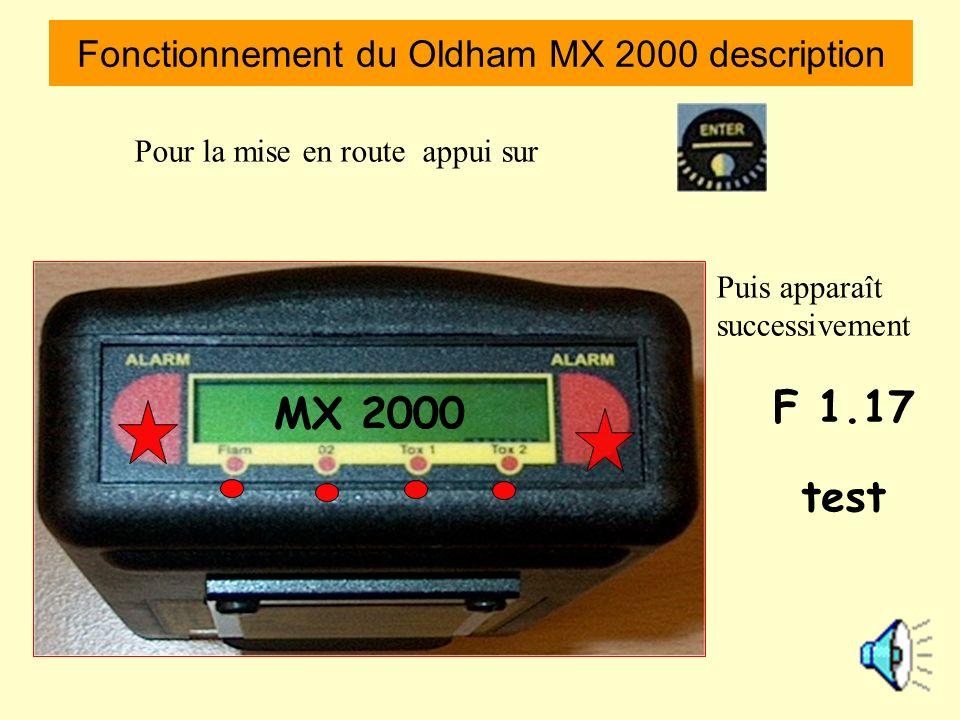 Voyants alarme Alarme tox 1 CO Alarme tox 2 H²S Alarme 0² Risque dexplosion Fonctionnement du Oldham MX 2000 description