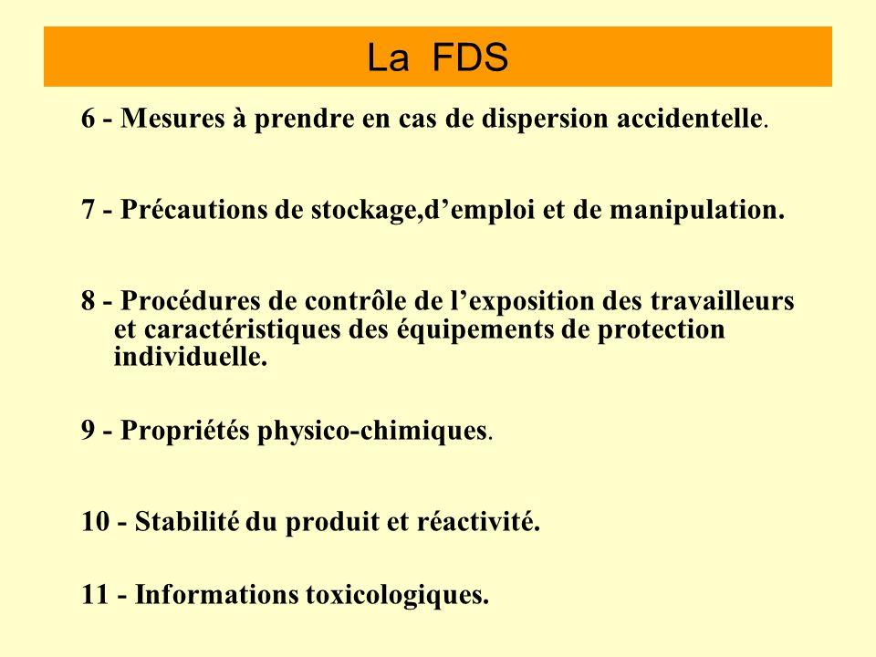 La FDS Que trouve ton sur une fiche donnée sécurité Celle-ci est en 16 points. 1 - Identification du produit chimique et de la personne physique ou mo