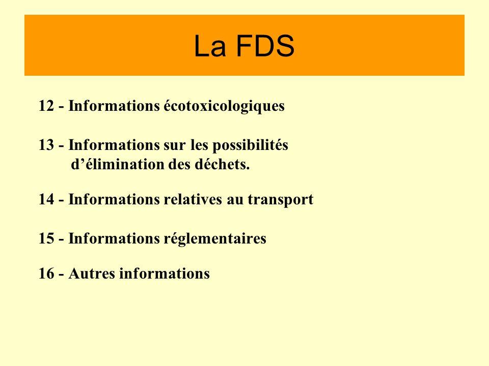 La FDS 6 - Mesures à prendre en cas de dispersion accidentelle. 7 - Précautions de stockage,demploi et de manipulation. 8 - Procédures de contrôle de