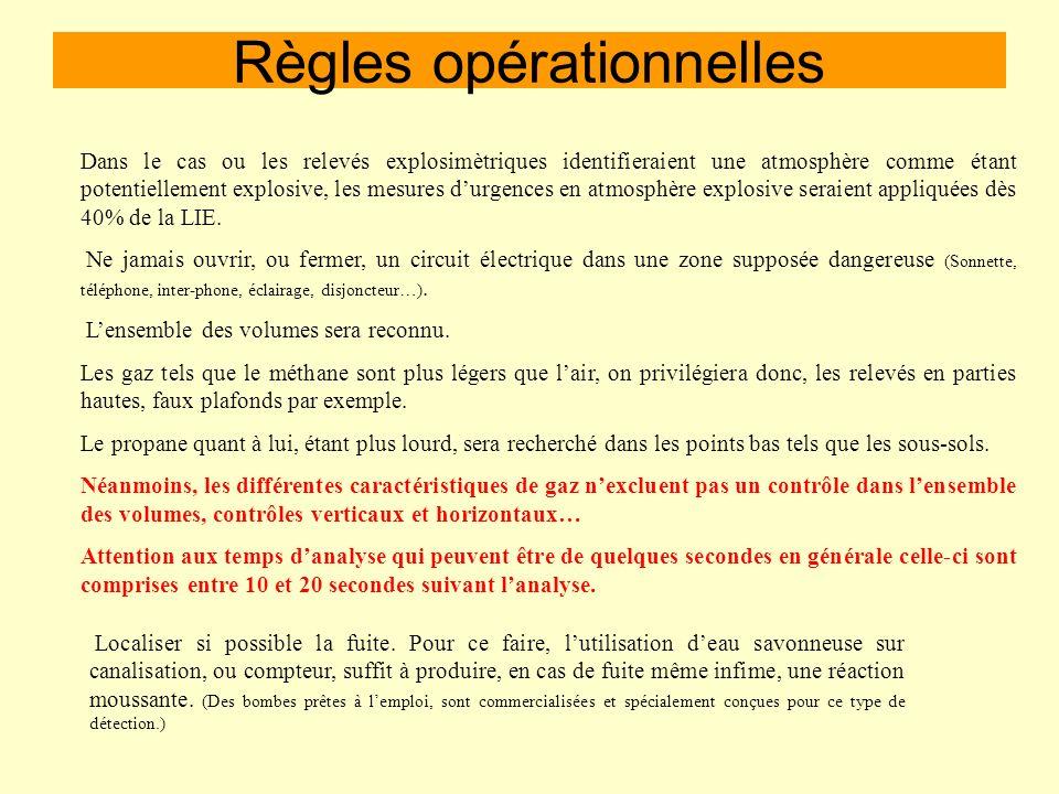 Règles opérationnelles -Sassurer que le mélange soit bien air/gaz, car lexplosimètre a besoin doxygène pour effectuer ses analyses. -Attention aux mél