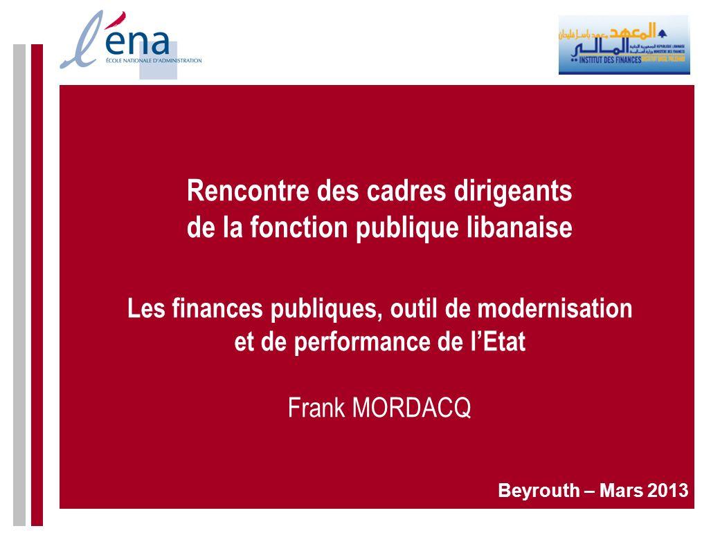 Rencontre des cadres dirigeants de la fonction publique libanaise Les finances publiques, outil de modernisation et de performance de lEtat Frank MORD