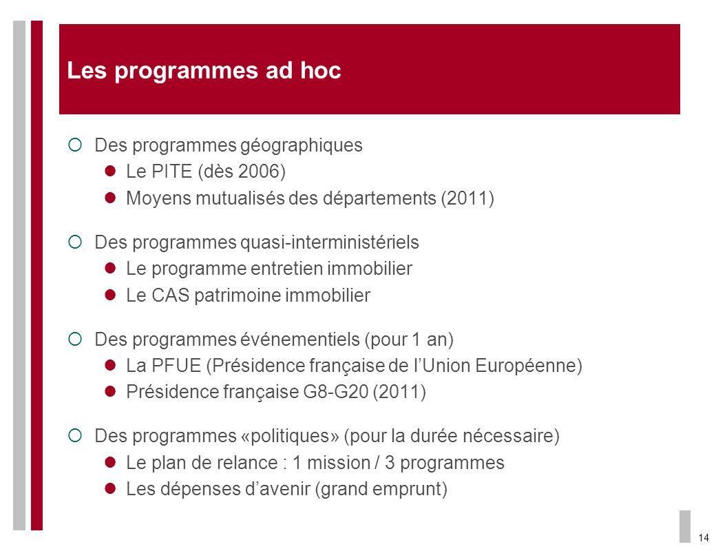 14 Les programmes ad hoc Des programmes géographiques Le PITE (dès 2006) Moyens mutualisés des départements (2011) Des programmes quasi-interministéri