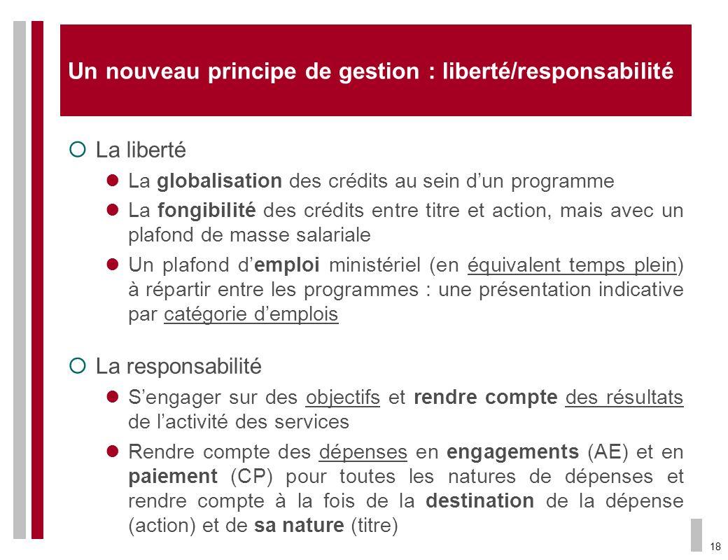 18 Un nouveau principe de gestion : liberté/responsabilité La liberté La globalisation des crédits au sein dun programme La fongibilité des crédits en
