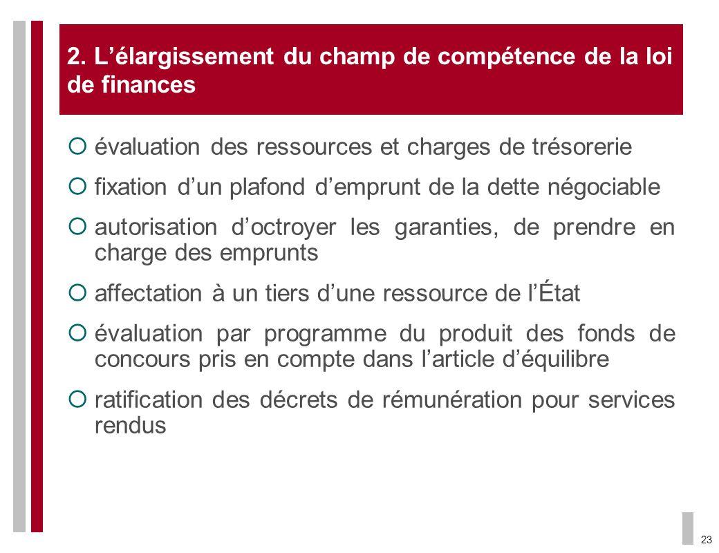 23 2. Lélargissement du champ de compétence de la loi de finances évaluation des ressources et charges de trésorerie fixation dun plafond demprunt de