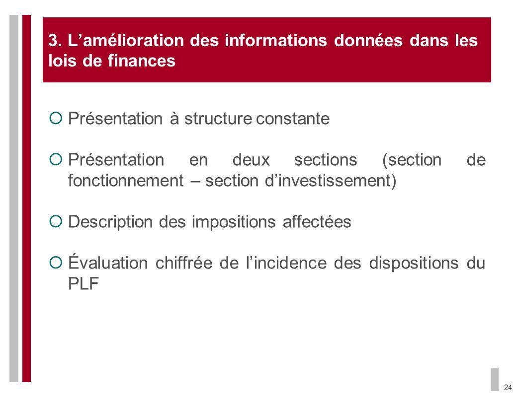 24 3. Lamélioration des informations données dans les lois de finances Présentation à structure constante Présentation en deux sections (section de fo