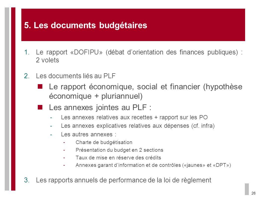 26 5. Les documents budgétaires 1.Le rapport «DOFIPU» (débat dorientation des finances publiques) : 2 volets 2.Les documents liés au PLF Le rapport éc