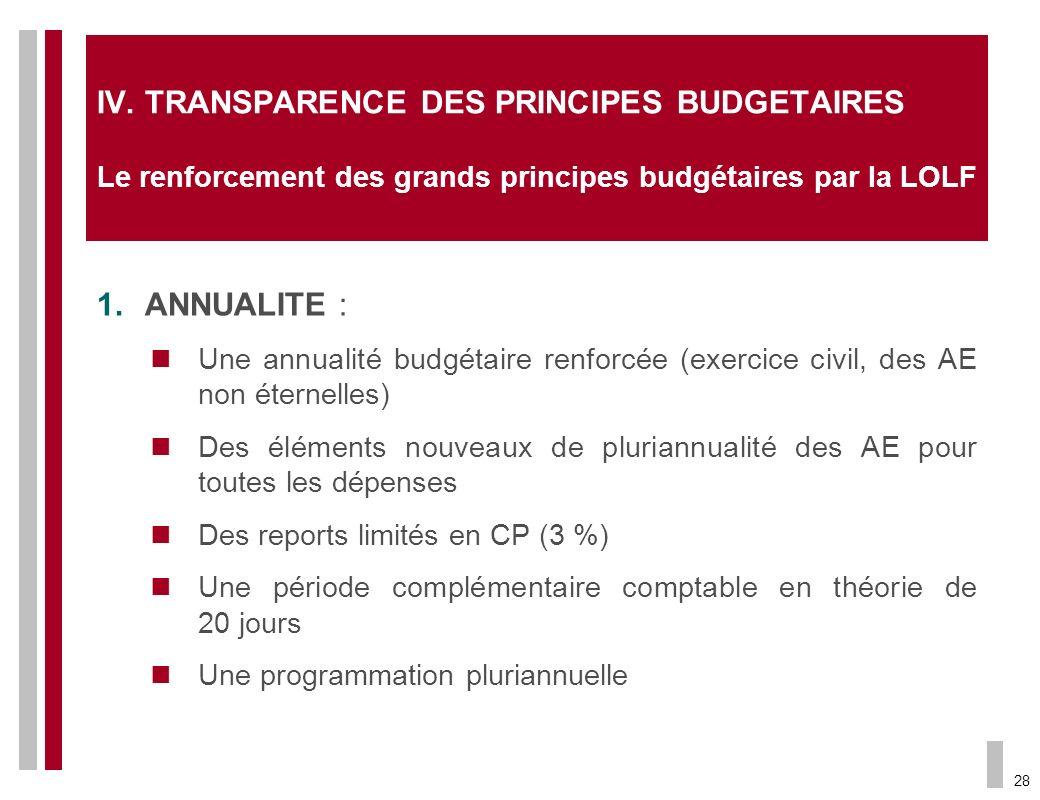28 IV. TRANSPARENCE DES PRINCIPES BUDGETAIRES Le renforcement des grands principes budgétaires par la LOLF 1.ANNUALITE : Une annualité budgétaire renf