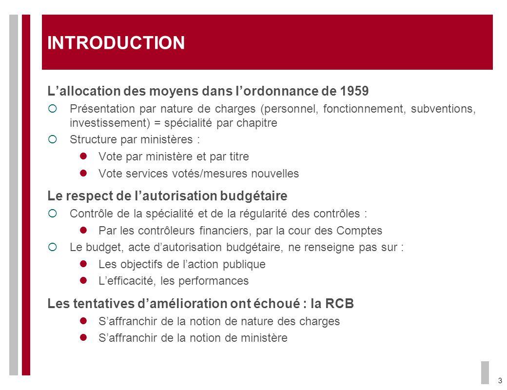 3 INTRODUCTION Lallocation des moyens dans lordonnance de 1959 Présentation par nature de charges (personnel, fonctionnement, subventions, investissem