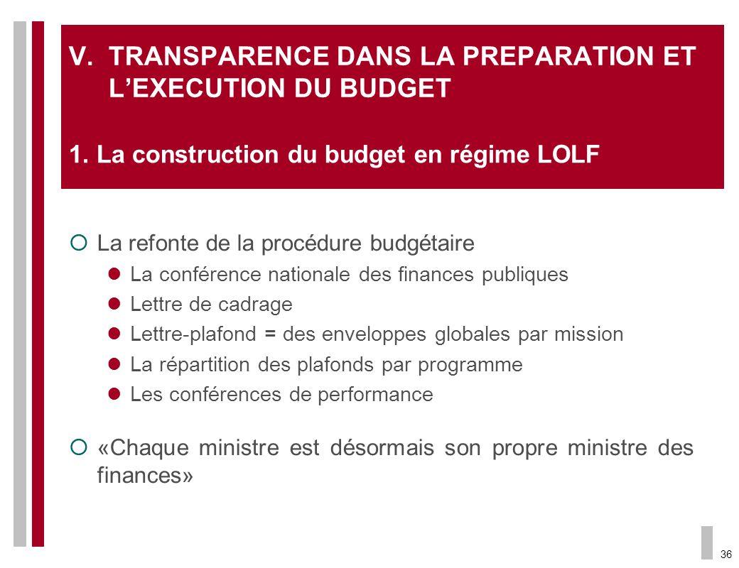 36 V.TRANSPARENCE DANS LA PREPARATION ET LEXECUTION DU BUDGET La refonte de la procédure budgétaire La conférence nationale des finances publiques Let