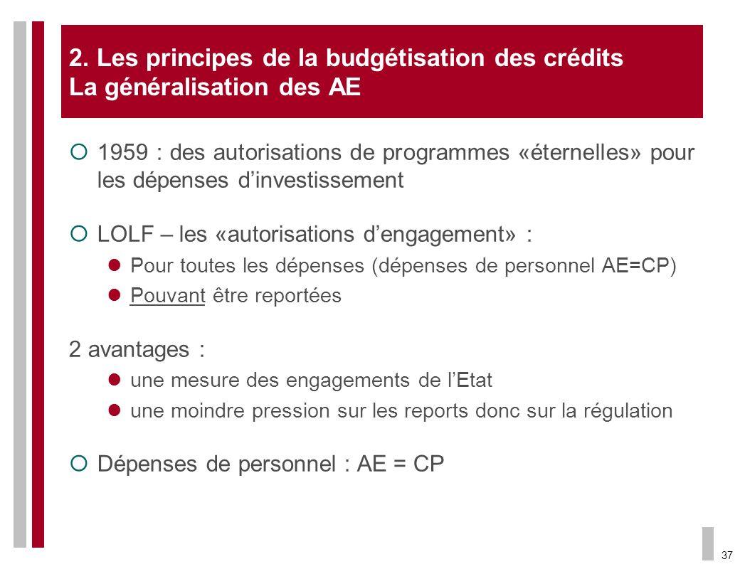 37 2. Les principes de la budgétisation des crédits La généralisation des AE 1959 : des autorisations de programmes «éternelles» pour les dépenses din