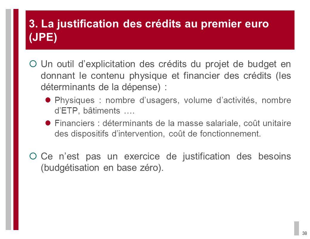 38 3. La justification des crédits au premier euro (JPE) Un outil dexplicitation des crédits du projet de budget en donnant le contenu physique et fin